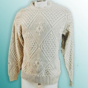 1980s Vintage Beige Cable Knit Sweater